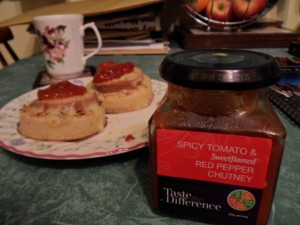 Crumpets_cheese_and_chutney