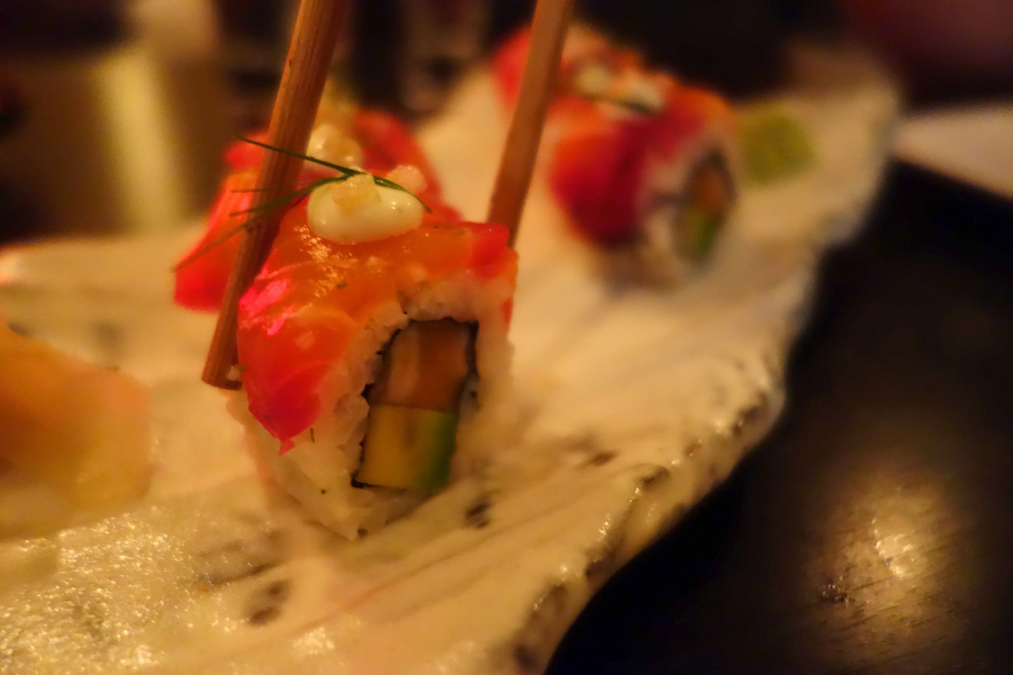 Kurobuta Salmon Gravadlax Maki with Dill Mayo